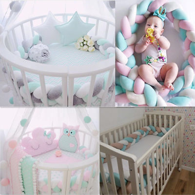 Infant Baby Plush Bumper Bed Bedding Crib Cot Braid Pillow Cushion Protector 2M