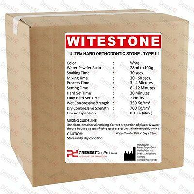 Dental Supply Very Hard Setting WHITE ORTHODONTIC STONE CASTING PLASTER, 25 kilo