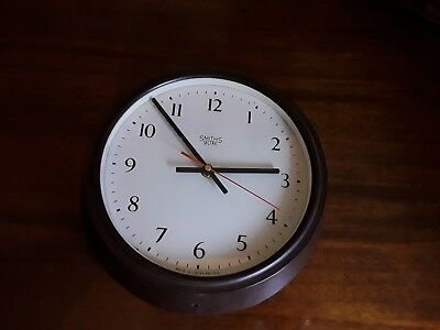 Antique 8 Day Smiths Wall Clock  Bakelite case, converted to battery, stunning