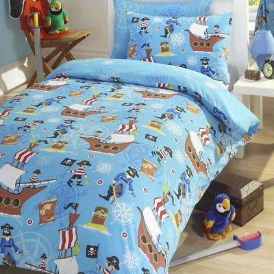 Sea Pirates Ships Single Duvet Cover Set Childrens Bedding - 2 In 1 Design