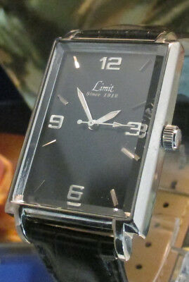 Limit Swiss made watch 2035  Black dial white hands 46 mm steel case since 1912