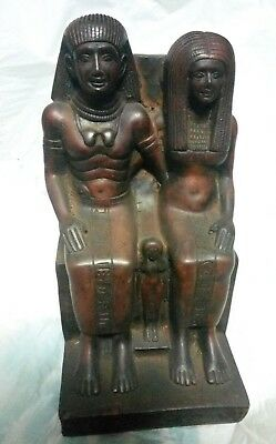 ANCIENT EGYPTIAN ANTIQUE AMENHOTEP III and QUEEN TIYE Statue 1345-1335 BC