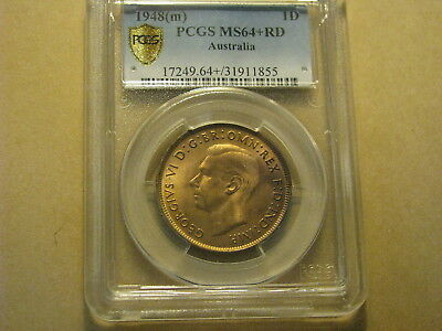 Australia  Penny 1948 (m) PCGS Graded MS64+ RD Coin RED Choice Uncirculated Nice