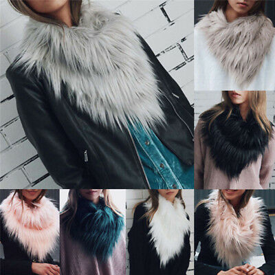 Women  Scarf Shawl Wrap Neck Winter Vogue Long LadyFox Fur Collar Warmer Fj