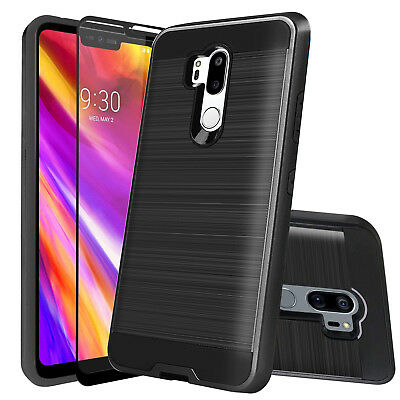 For LG G7 ThinQ Hybrid Shockproof Rugged Armor Case Cover+Glass Screen Protector