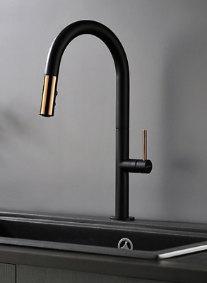 White/Black+Rose Gold Pull out Brass Kithcen Sink Tap Single Lever Basin Faucet