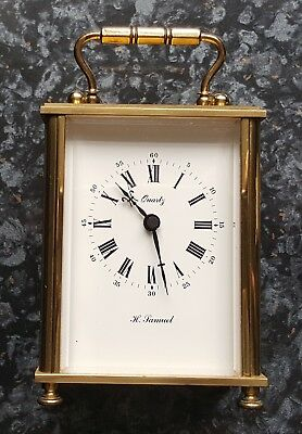 Vintage Carriage Clock By Weiss For H Samuel Quartz Battery Movement Free Delive