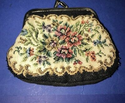 Embroidered tapestry black Coin Purse Golden Seal Made In Germany