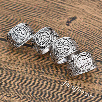 Vintage Mens Viking Compass Norse Nordic Finger Ring Jewelry Bear Paw Silver