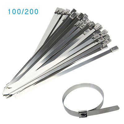 200 Stainless Steel Metal Cable Ties Zip Wrap Exhaust Heat Straps 4.6*300mm Long