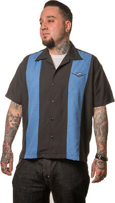 CHET ROCK GUITAR HEAD skull MENS retro style BOWLING SHIRT
