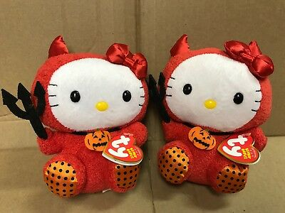 2 sanrio hello kitty red devil outfit costume ty beanie babies halloween dolls