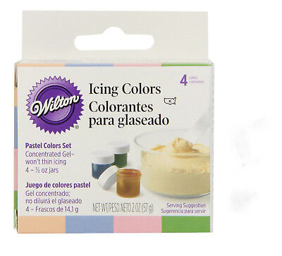 WILTON PACK OF 4 Pastel Edible Food Coloring Icing Cake Decorating ...