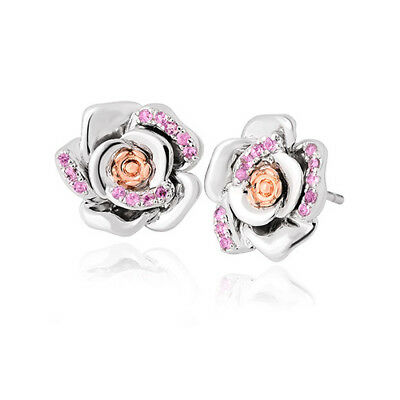 BRAND NEW Welsh Clogau Silver & Rose Gold Rose Pink Sapphire Earrings £140 off