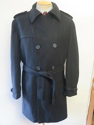 Genuine Barbour Wool Trenchcoat Raincoat Coat Size XL 46-48 R Euro 56-58 R Black