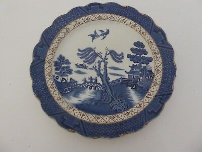 """Antique Booths Real Old Willow A8025 8 1/4"""" Lunch Salad Plate Gold"""