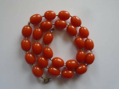Antique Art Deco Orange Cherry Amber  Bakelite Beads Necklace Simichrome tested