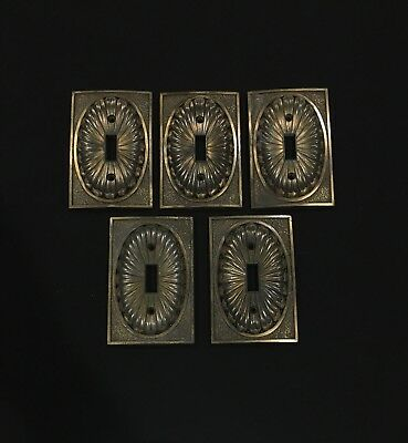 5 Vintage Single Light Switch Cover 1974 Brass Colored American Tack And Hdwe Co