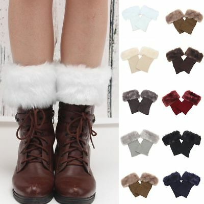 Damen Strickmanschetten Fell Knit Toppers Stiefel Stulpen Socken Beinwärmer Warm
