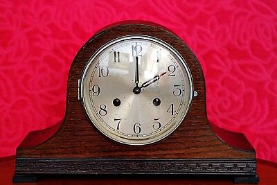 Vintage Art Deco German 'Foreign' 8 - Day Mantel Clock with Chimes & Instruction