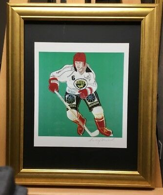 Andy Warhol, Hand Signed special Print Ice Hockey Player 1986 COA