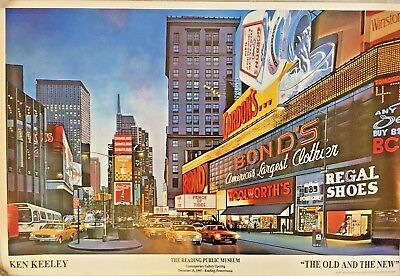 "Times Square NYC, Art Poster 24"" X 36"" by Ken Keeley, ""The Old and the New"""