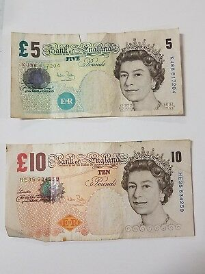 Bank of England 10 Pound & 5 POUND Notes circulated