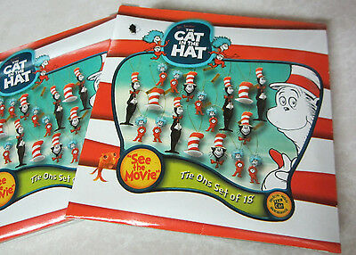"""THE CAT IN THE HAT~DR.SEUSS"""" NIP 4 Packs of 18 Miniature 72 Ornaments DECORATION"""
