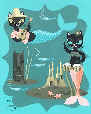 El Gato Gomez Print Retro Tiki Bar Hula Pinup Girl Cats Hawaii Kitschy 1950S