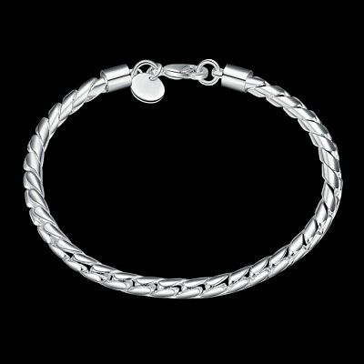 Fashion 925Sterling Solid Silver Men Jewelry Rope Chain Bracelet For Women H210