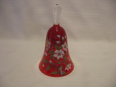 """6 1/2"""" Vtg. Norleans Italy Handmade Red Glass Bell w/ Butterflies &Flowers (F11)"""
