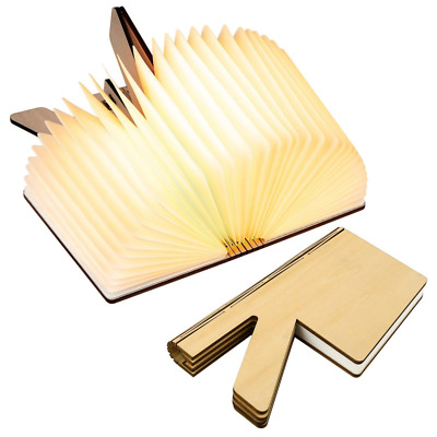 USB Rechargable R Shaped Lightening Water-Resistant Wooden Folding Book Lamp US