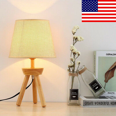 Tripod Wooden Base and Fabric Shade, Night Stand and Modern Bed Light Table Lamp