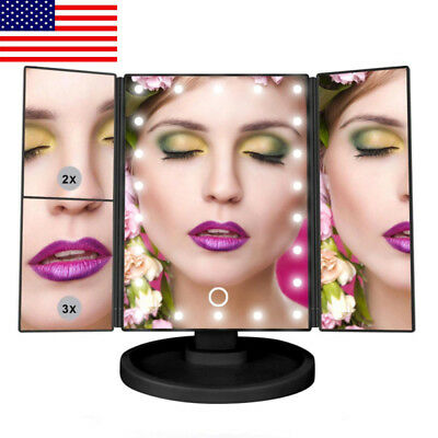 Makeup Vanity 21 LED Lights 3X/2X Magnifying Mirror Touch Screen, 180°Rotation