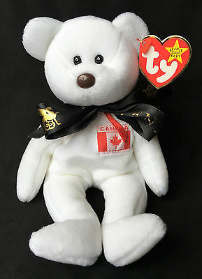 Ty 1997 Beanie Baby Maple White Teddy Bear Broadway Livent Promotion Ribbon