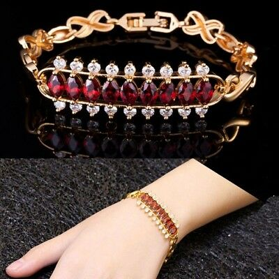 Cubic Zirconia Big Charm Bracelets For Women High Quality Yellow Gold Color Red