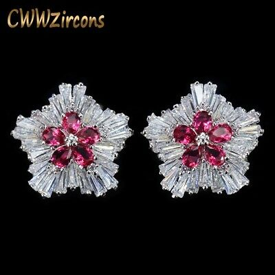 Cubic Zirconia Crystal Flower Korean Fashion Brand Jewelry Rose Red Earrings