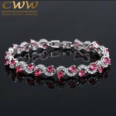 Crystal Stone Women Bracelets Bangles With Cubic Zirconia Luxury Silver Color