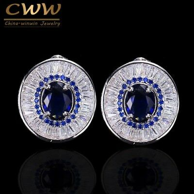 Cubic Zirconia And Blue Crystal Women Fashion Jewelry Stud Earrings Round Shape
