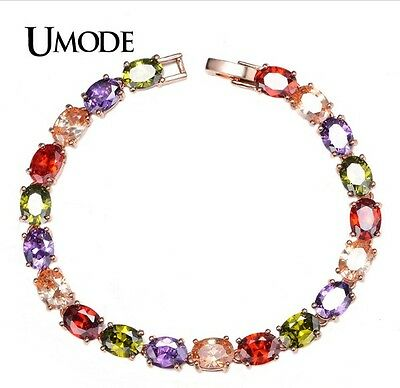 NEW Awesome Women Colorful Charm Oval Cubic Zircon Strand Bracelet & Bangles