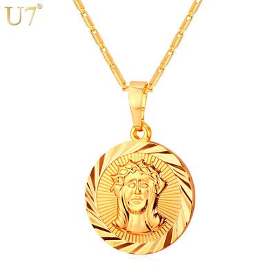 New Round Collar Jesus Piece Necklace Pendant Chain Gold/Silver Charm Jewelry