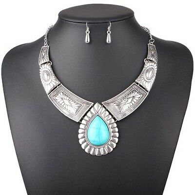 Water Drop Jewelry Leaves Vintage Statement Necklaces Pendants Accessories Woman