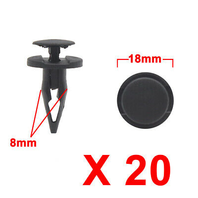 Universal 20Pcs Black Plastic Rivets Trunk Push Type Retainer Clip 8mm for Car