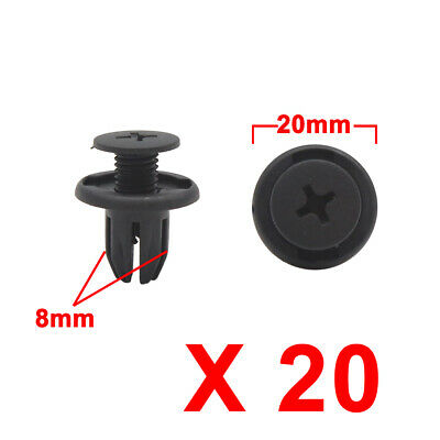 20Pcs Black Car Plastic Rivets Splash Guard Trunk Push Type Fastener Clip 10.5mm