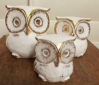 Set 3 Owls Handmade Carved Wooden Ornament Statues Figurines  New