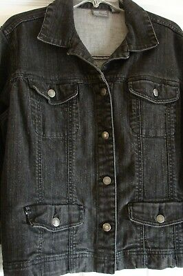 Additions by Chicos black washed denim jean jacket Size 2  EUC
