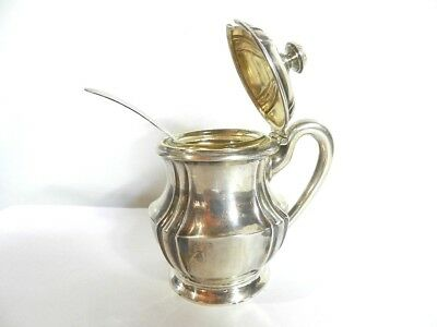 Antique Sterling Silver Mustard Pot With Glass Inner And Spoon