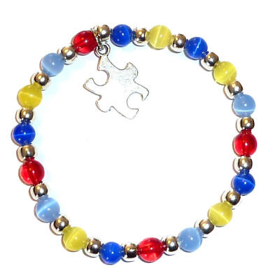 Autism Colorful Awareness Stretch Bracelet, Puzzle charm, Fits Adults Packaged