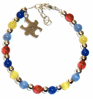 Autism Colorful Awareness Wire Bracelet, Puzzle charm, Fits Adults Packaged