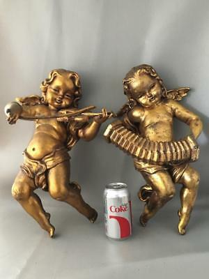 Antique Vtg Italian Gold Gilt Tole Faux Wood Cherub Wall Figurine Sculpture Pair